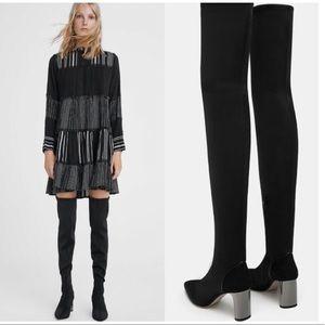 ZARA - OTK Fabric Black Boots with Metallic Heel